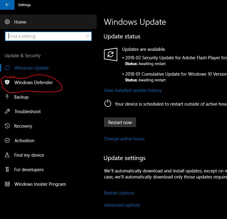 Windows Defender Old